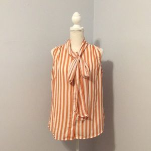 Eva Mendes Striped Bow Blouse in Island Coral